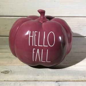 Rae Dunn HELLO FALL Cranberry Red Pumpkin NWT 🍁
